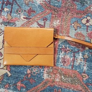 Etro Clutch Envelope Orange Leather Wristlet